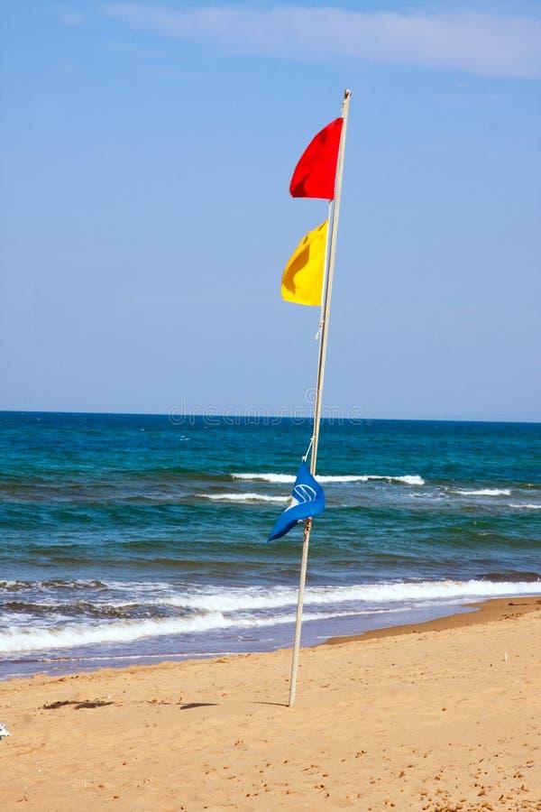 Red Flag, Danger Bathing Stock Image