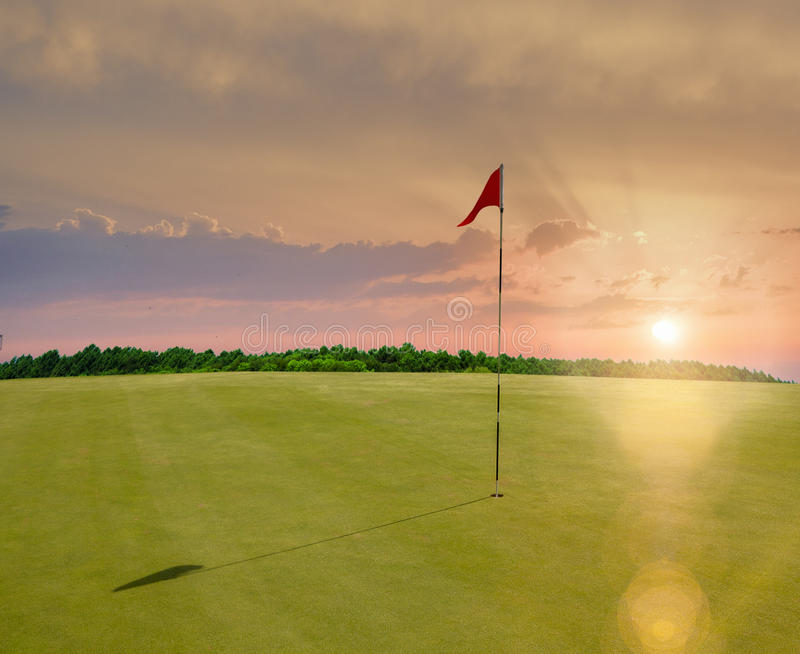 Download Red flag in a golf course stock image. Image of leisure - 99119757
