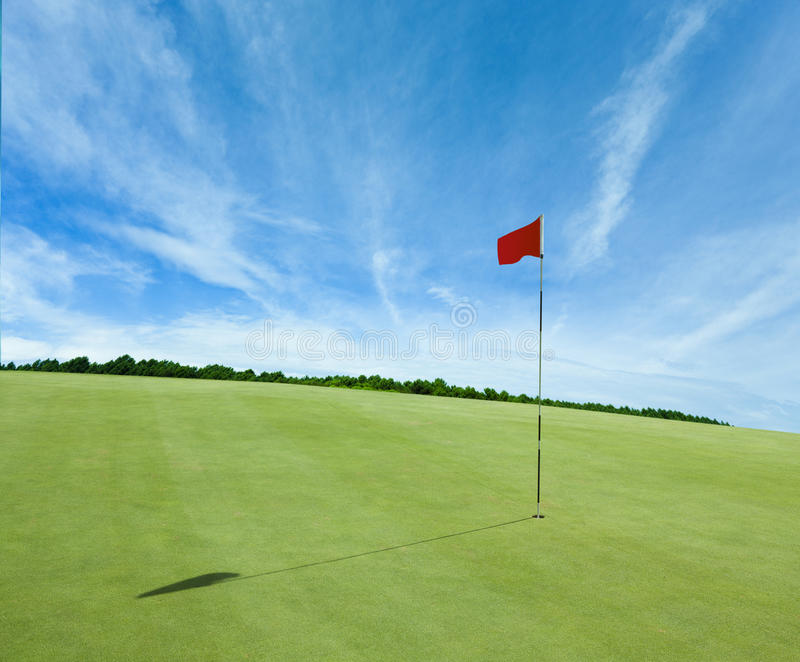 Red Flag and The Golf Field royalty free stock images