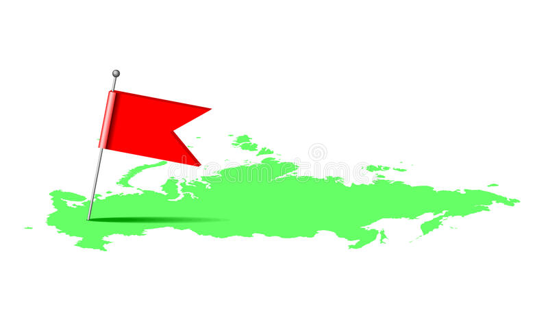 Download Red Flag On The Map Of Russia Stock Illustration - Image: 33067845
