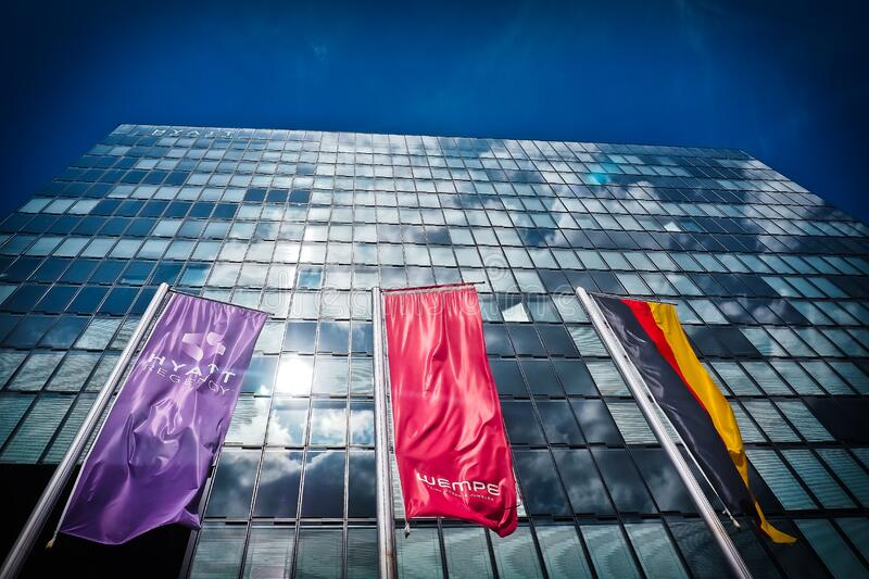 Red Flag Near Buildings stock images