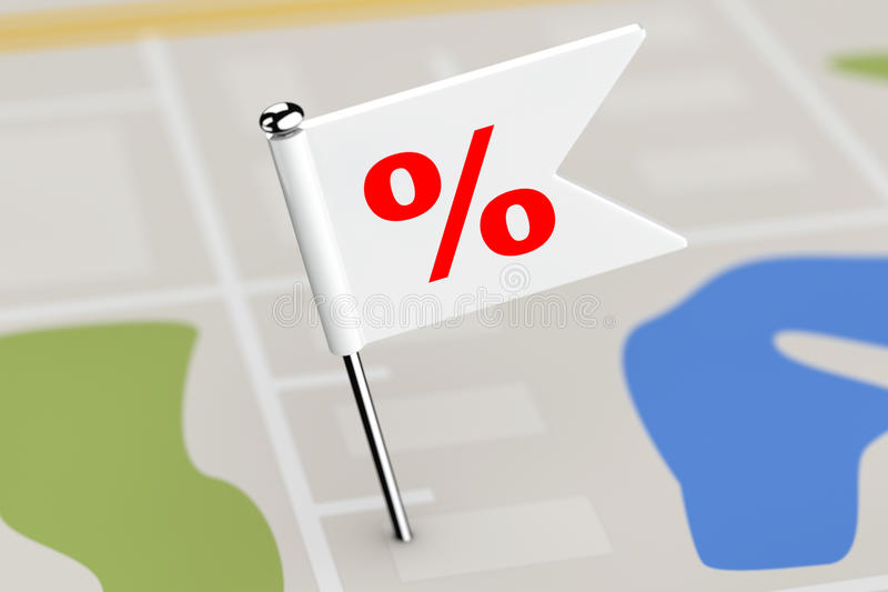 Red Flag with Percent Discount Sign on Map Background. 3d Render royalty free illustration
