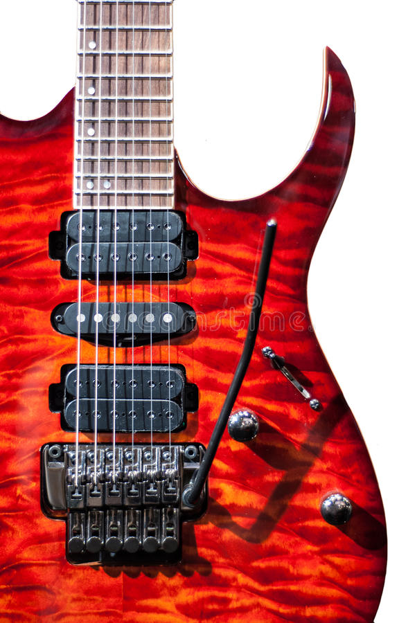Red flame guitar. Red flame rock guitar on white background royalty free stock image