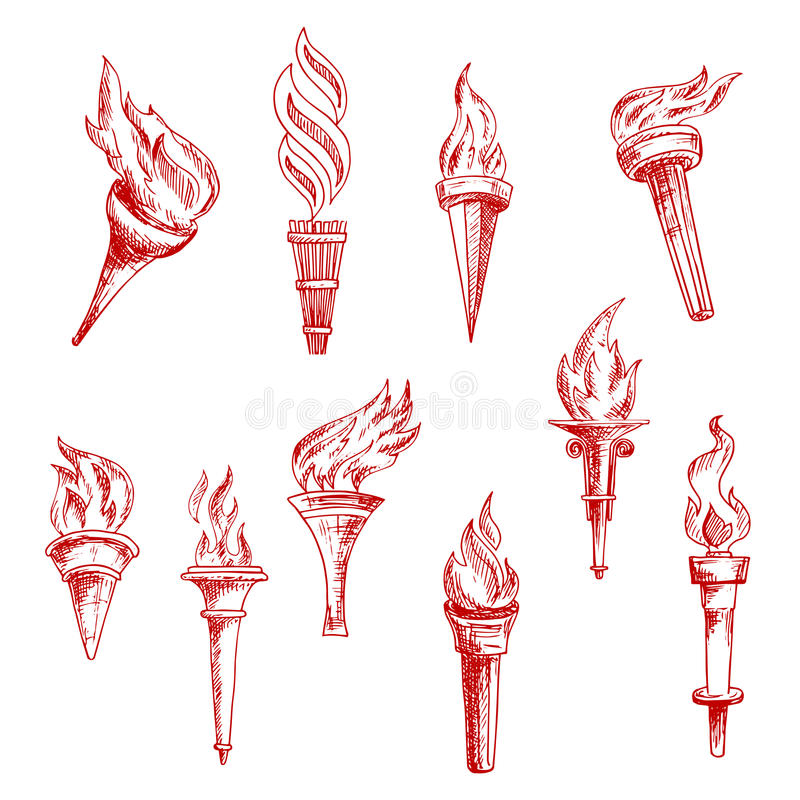 Red flaming torches sketch icons stock illustration