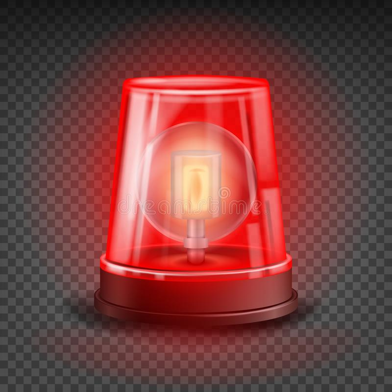 Red Flasher Siren Vector. Realistic Object. Light Effect. Beacon For Police Cars Ambulance, Fire Trucks. Emergency royalty free illustration