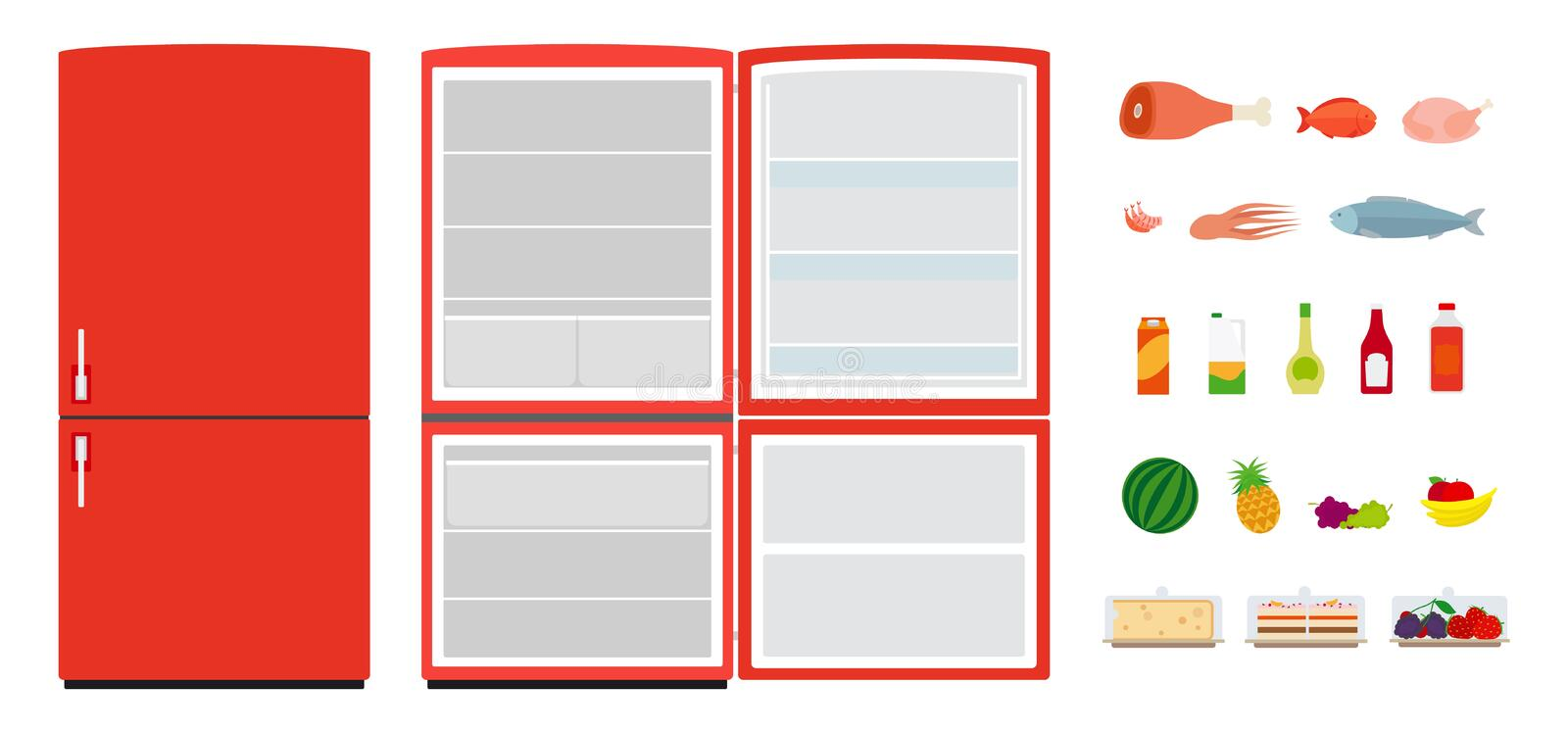 Red flat fridges. Close and open empty refrigerator. Vector food icons vector illustration