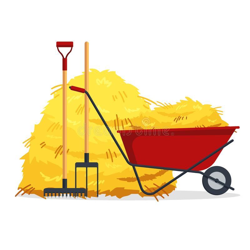 Red flat gardening wheelbarrow with bale of hay, pitchfork, rake isolated on white background. Flat dried haystack. Farming haymow, agricultural rural haycock vector illustration