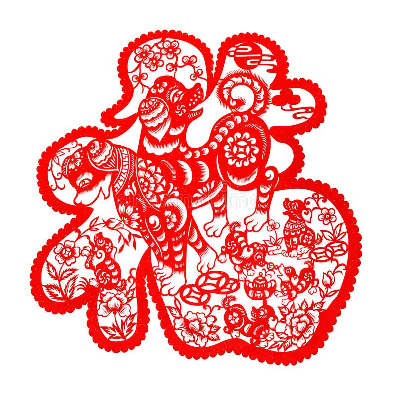 Red flat paper-cut on white as a symbol of Chinese New Year of the Dog 2018. The Chinese means fortune THIS IS A PHOTO stock photo