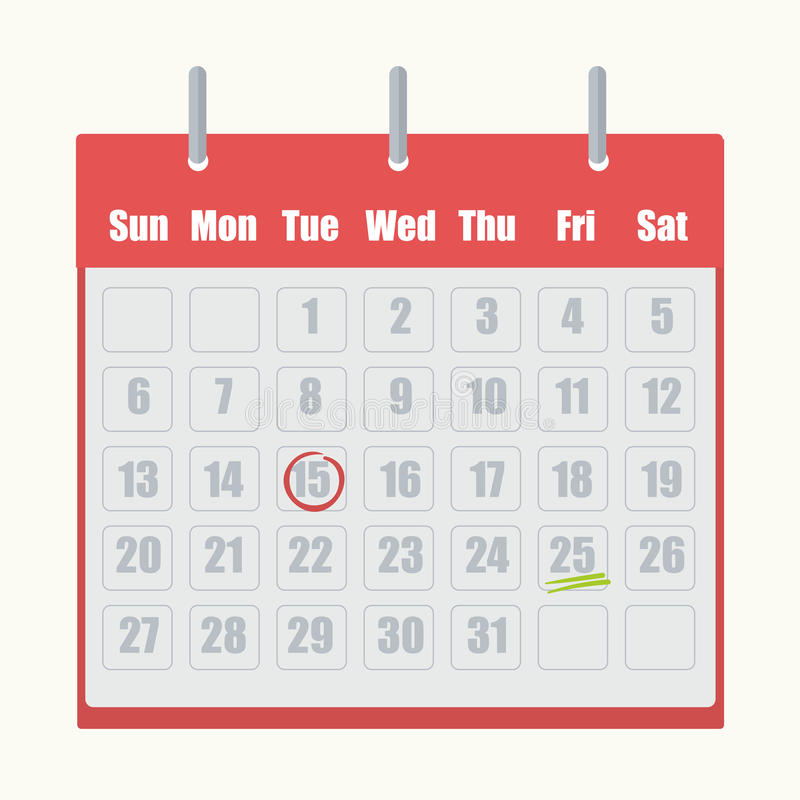 Red flip-flop calendar with gray numbers close-up on white background. Marks on dates circled in red or underlined by two green lines. Vector illustration with royalty free illustration