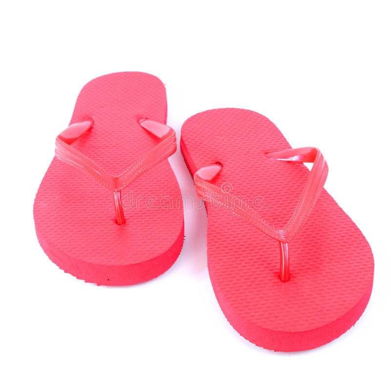 Red flip flops royalty free stock images