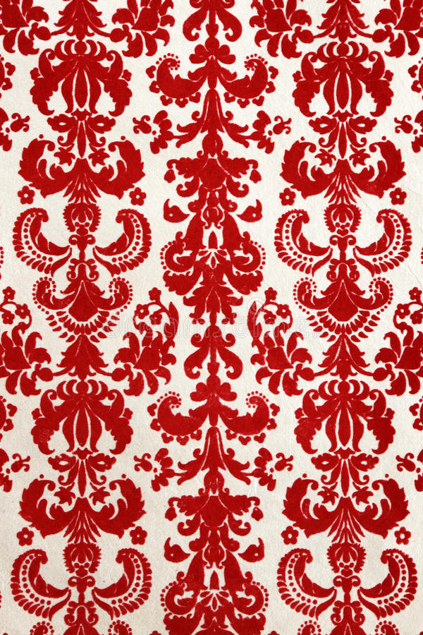 Red flock wallpaper pattern stock images