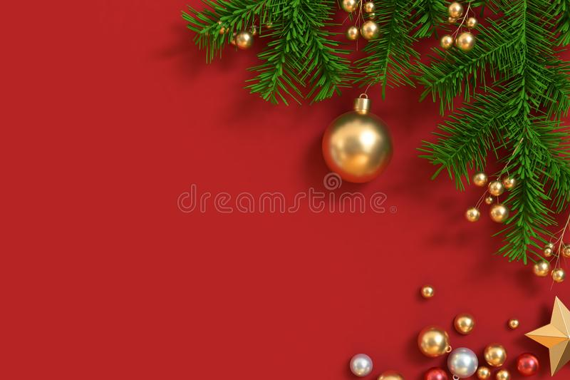 Red floor with christmas tree-leaf metallic gold ball. Left side free space christmas background 3d rendering,holiday christmas new year winter concept royalty free stock photos