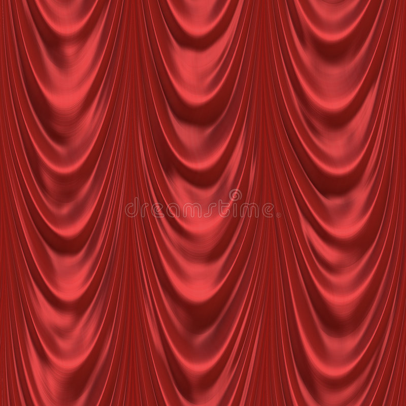 Red floor length curtains royalty free illustration