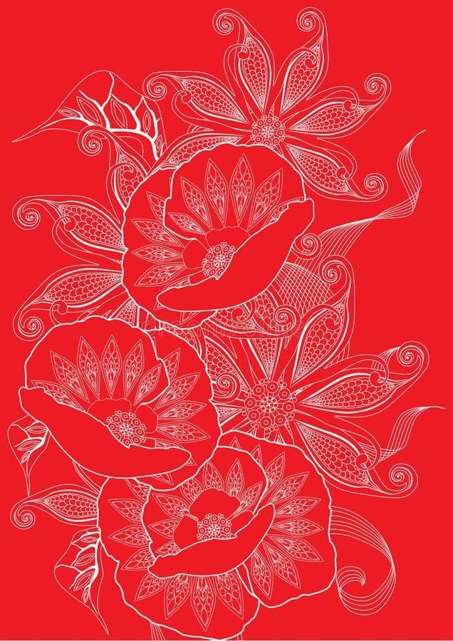 red floral background vector illustration