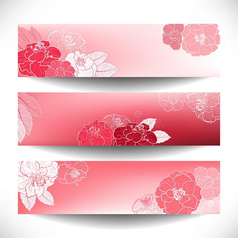 Download Red Floral banners stock vector. Image of flourish, header - 31335633