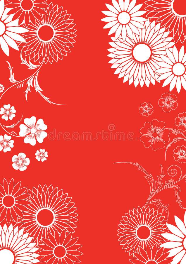 Red floral ornement. Vector illustration,AI file included royalty free illustration