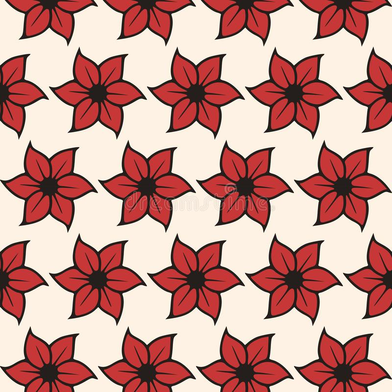 Red floral seamless pattern on white background - Ornamental vector stock illustration
