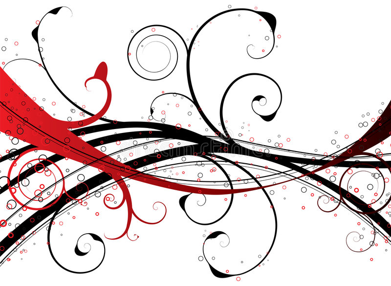 Red floral swirl royalty free illustration