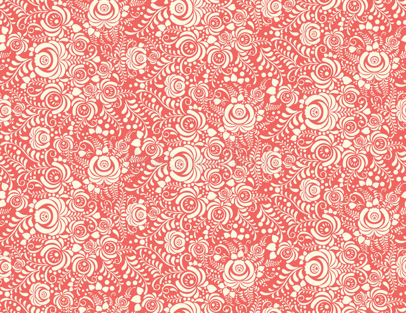 Red floral textile vector seamless pattern in royalty free illustration