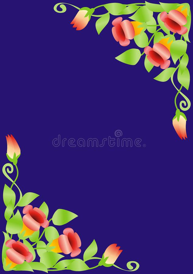 Floral ornament on the blue background vector illustration