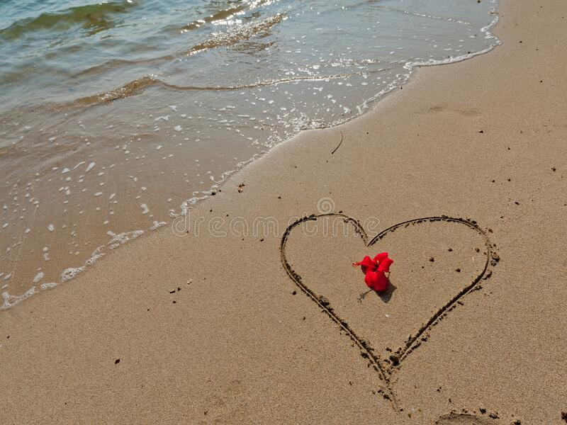 Red flower and a heart sign on yellow sand and clear water. Tropical background stock images