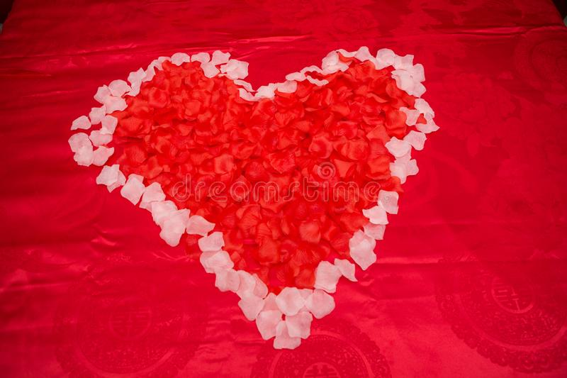 Red flower love with wedding stock images