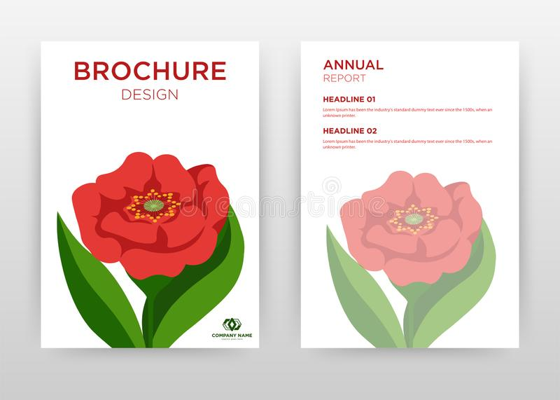 Red flower petal design for annual report, brochure, flyer, poster. Red flower on white background vector illustration for flyer,. Leaflet, poster. Business stock illustration