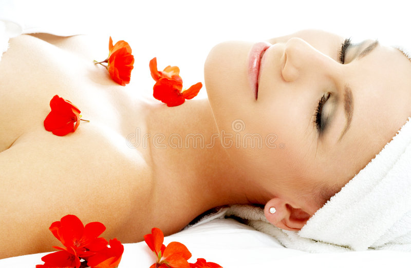 Red flower petals spa #2 stock image