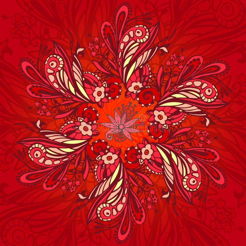 Red flower seamless pattern. With doodle abstract elements stock illustration