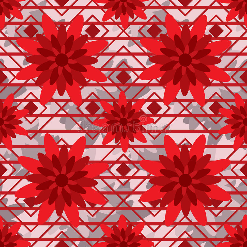 Red flower style seamless pattern stock illustration