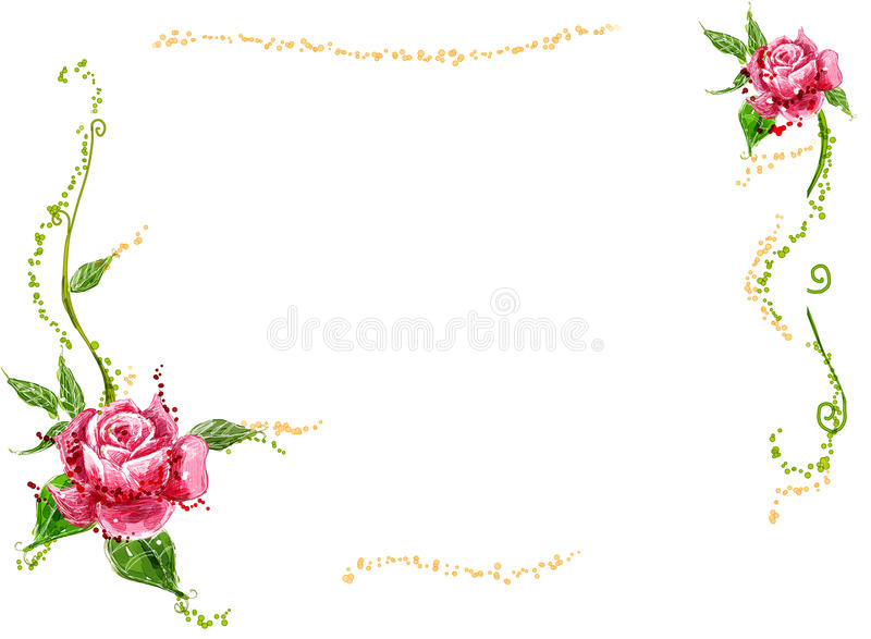 Red flower and vines stock illustration