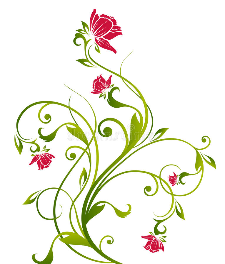 Red flower and vines stock illustration. Illustration of ...  Red flower and ...
