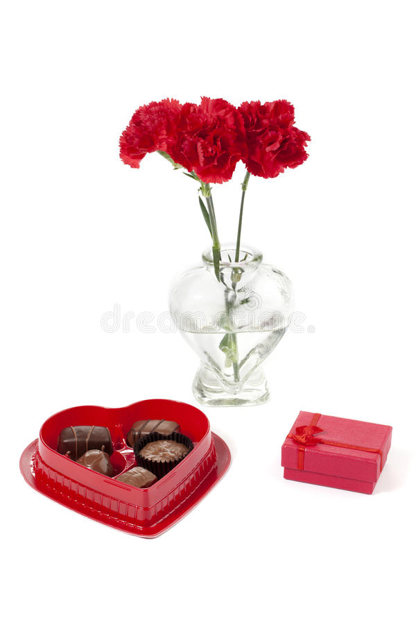Free Red Flower With Chocolates And Jewelry Stock Photo - 25463210