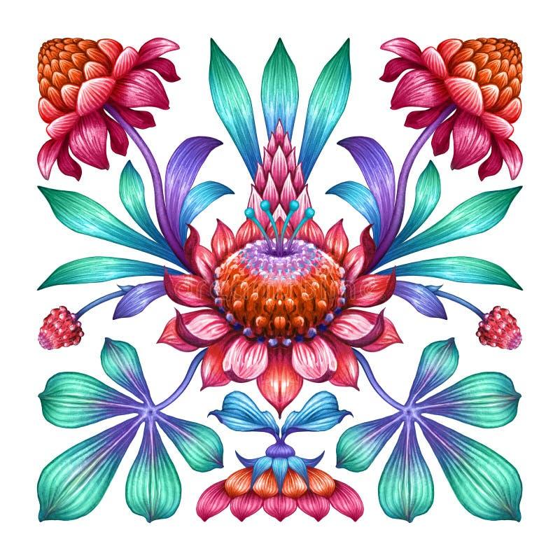 Red flowers isolated on white background, ethnic floral ornament, folklore motif, botanical kaleidoscope kerchief design, boho royalty free illustration