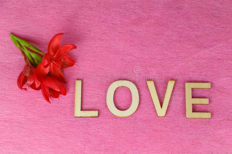 Red flowers and love. Written in wooden letters for Valentine`s Day royalty free stock image