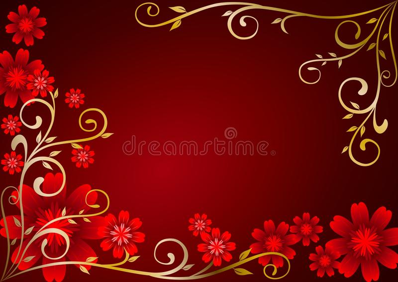 Red Flowers Ornament stock illustration