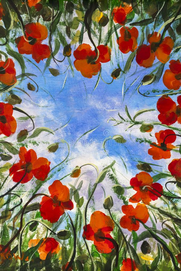 Nature Snowdrop Oil painting Ladybug Bright sun 19 by 15 inches Spring Sunrise