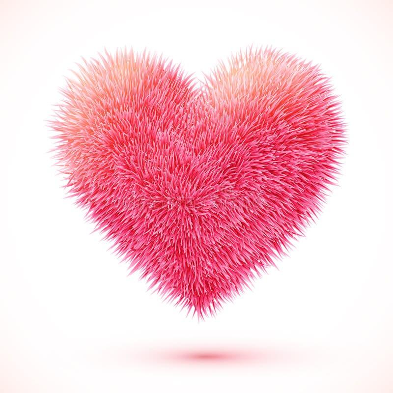 Red fluffy vector heart royalty free illustration