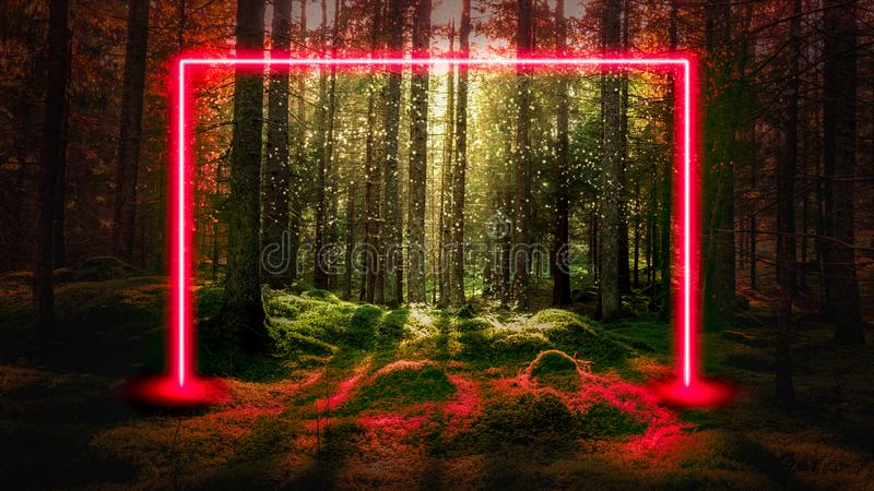 Red fluorescent neon laser lights in green magical forest landscape. Mysterious UFO portal gate concept background royalty free stock images