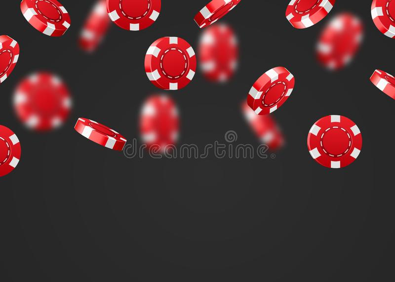 Red flying falling casino poker chips isolated on dark background. Jackpot or winner concept. Vector illustration royalty free illustration