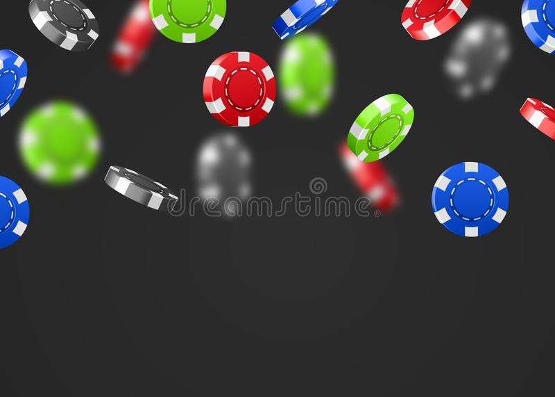 Red flying falling casino poker chips isolated on white background. Jackpot or winner concept. Vector illustration vector illustration
