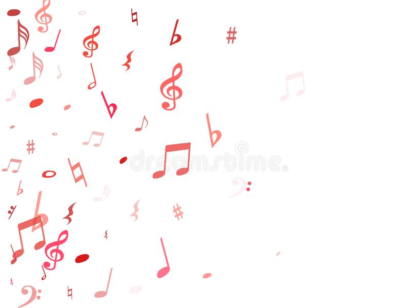 Red flying musical notes isolated on white backdrop. Fresh musical notation symphony signs, notes for sound and tune music. Vector symbols for melody recording royalty free illustration