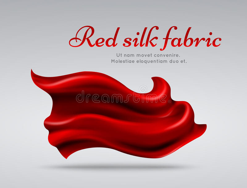 Red flying silk fabric abstact vector background vector illustration