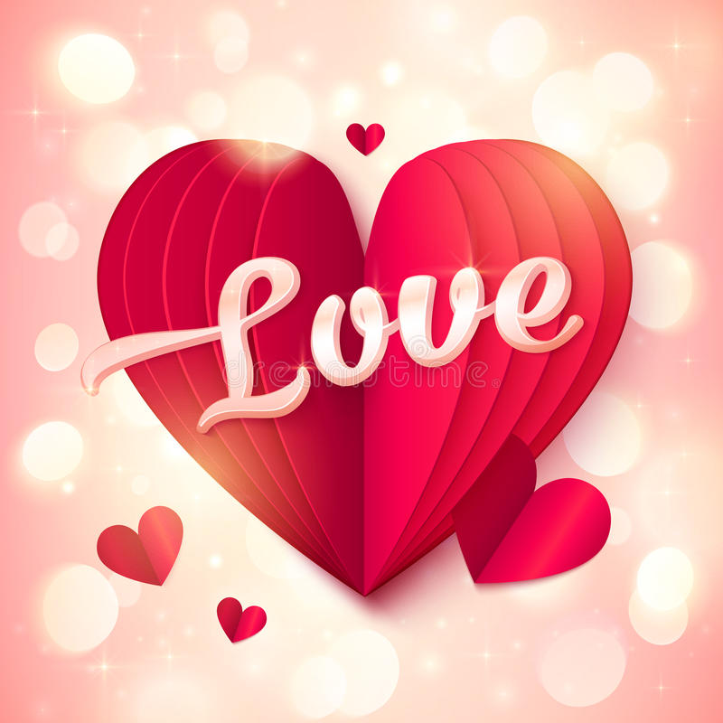 Red folded paper heart with pink 3d Love sign at bokeh light background stock illustration
