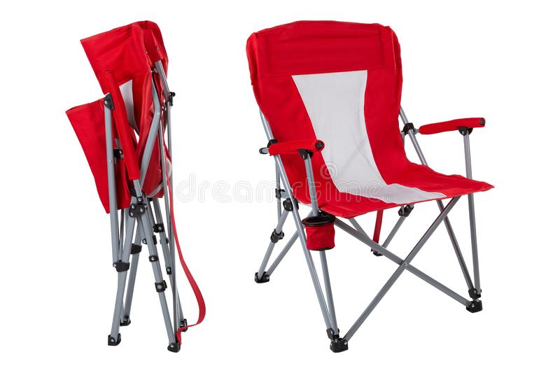 Red folding chair for fishing or for camping, two options, on a white background, collage royalty free stock images
