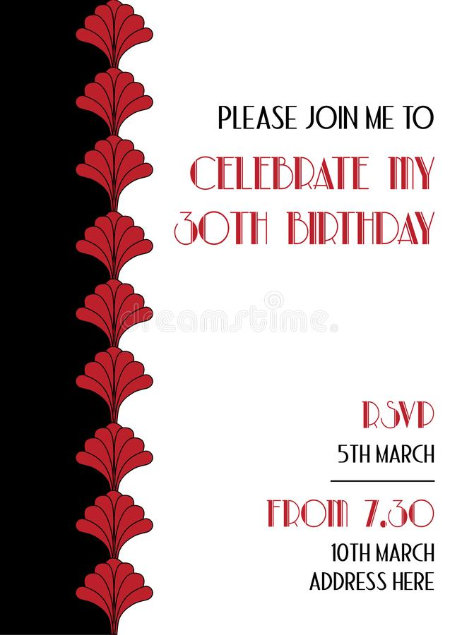Red Folklore Style Art Deco Birthday Invitation Design. Vector royalty free illustration
