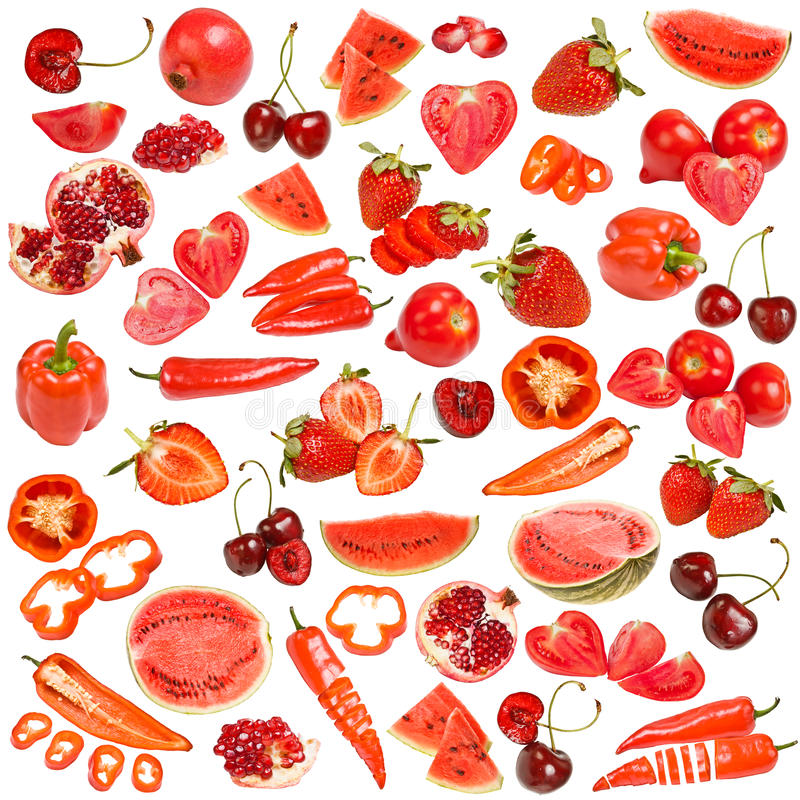 Red food collection. Isolated on white background stock images