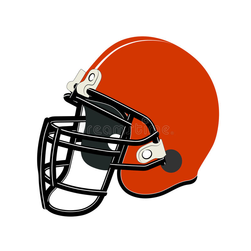 Red football helmet isolated over white background. On the image a football helmet is presented stock illustration