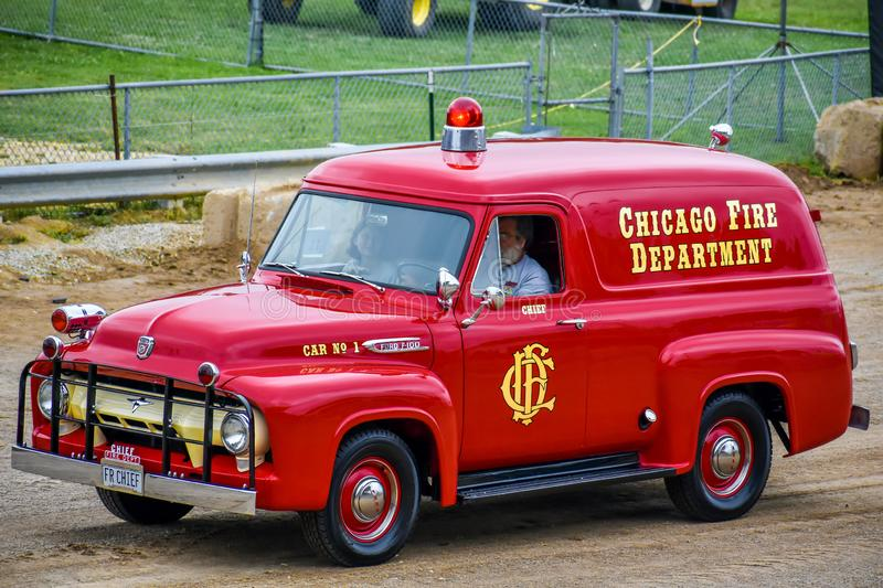 Red Ford F140 Chicago Fire Department Antique Truck royalty free stock image