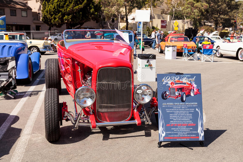 Red 1932 Ford Roadster Hi-Boy. Laguna Beach, CA, USA - October 2, 2016: Red 1932 Ford Roadster Hi-Boy owned by Bob Whaler and displayed at the Rotary Club of stock photo